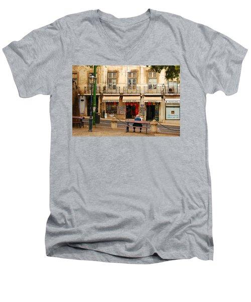 Lisbon Street Scene Men's V-Neck T-Shirt