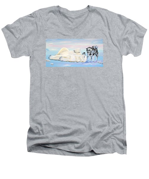 Unusual Buddies  Must Open Men's V-Neck T-Shirt by Phyllis Kaltenbach