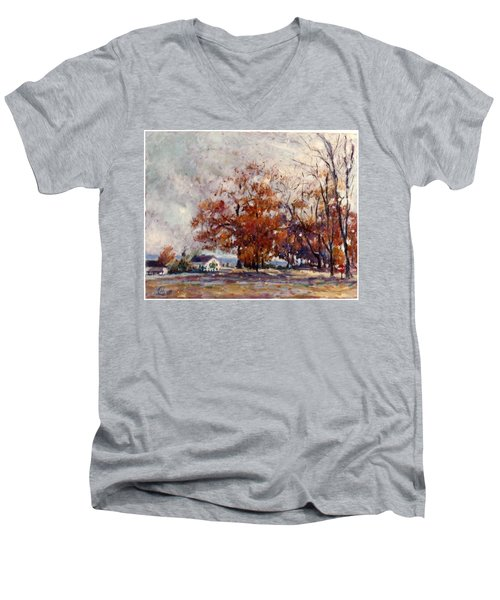Men's V-Neck T-Shirt featuring the painting Up State Ny - Nyack by Walter Casaravilla