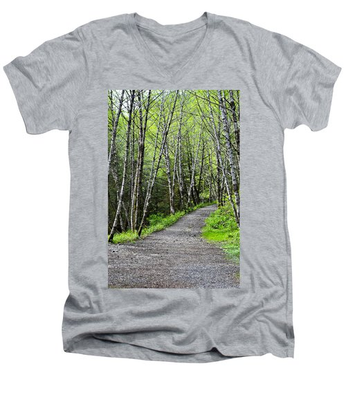 Men's V-Neck T-Shirt featuring the photograph Up The Trail by Cathy Mahnke