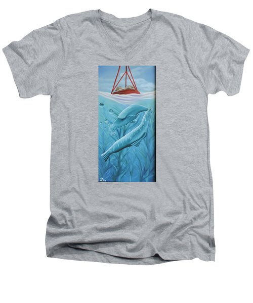 Men's V-Neck T-Shirt featuring the painting Uphoria by Dianna Lewis