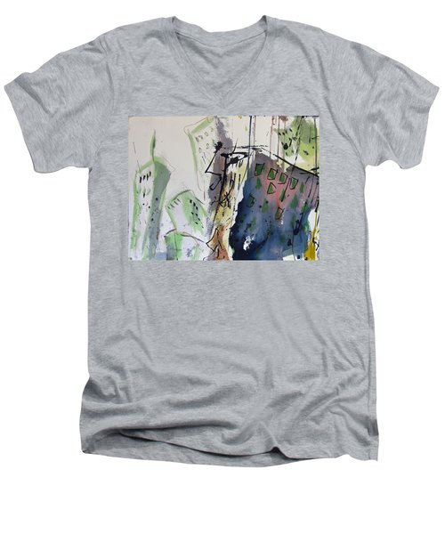 Men's V-Neck T-Shirt featuring the painting Uptown by Robert Joyner