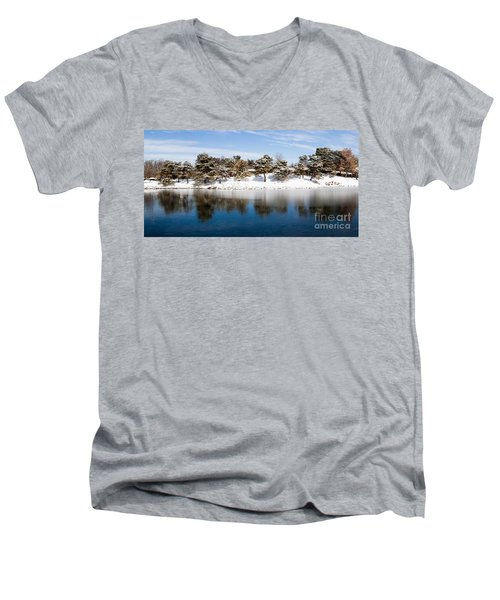 Urban Pond In Snow Men's V-Neck T-Shirt