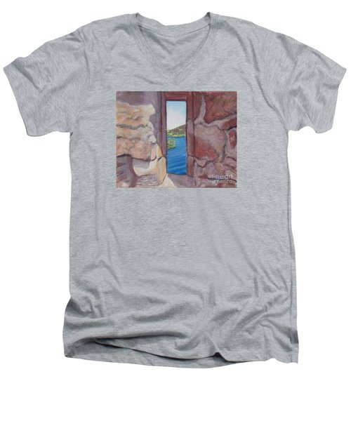 Archers' Window Urquhart Ruins Loch Ness Men's V-Neck T-Shirt
