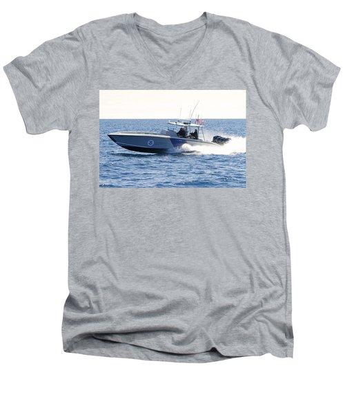 Us Customs At Work Men's V-Neck T-Shirt by Shoal Hollingsworth