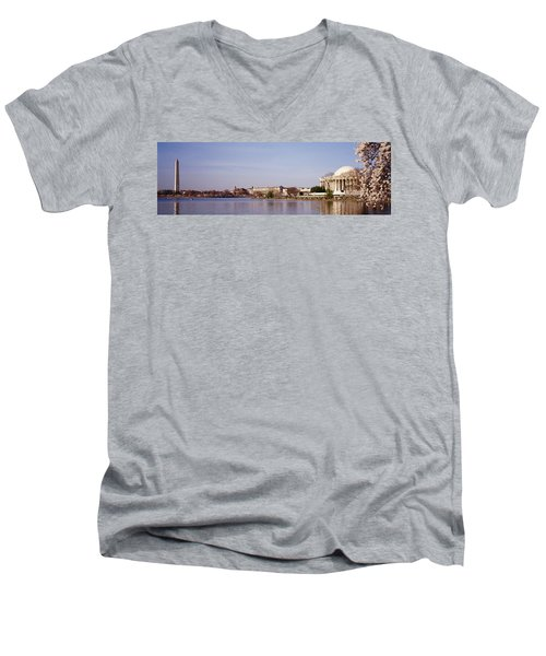 Usa, Washington Dc, Washington Monument Men's V-Neck T-Shirt by Panoramic Images
