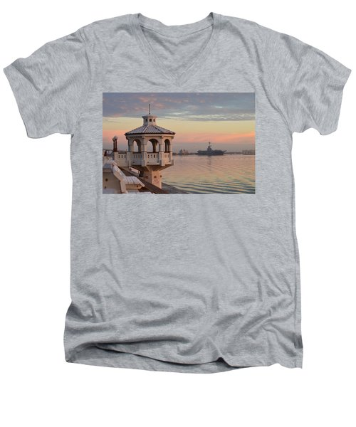 Uss Lexington At Sunrise Men's V-Neck T-Shirt