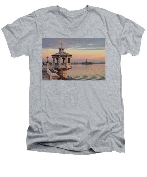 Uss Lexington At Sunrise Men's V-Neck T-Shirt by Leticia Latocki