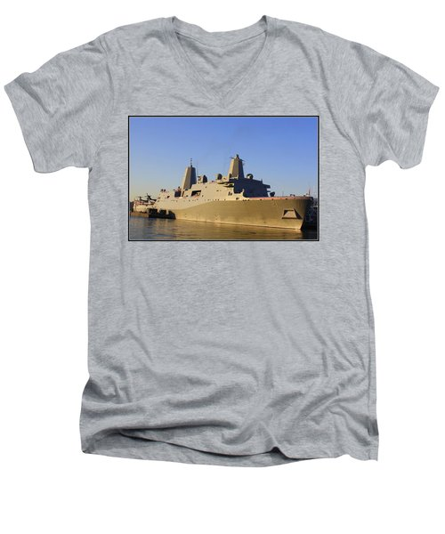 Uss New York - Lpd21 Men's V-Neck T-Shirt by Dora Sofia Caputo Photographic Art and Design