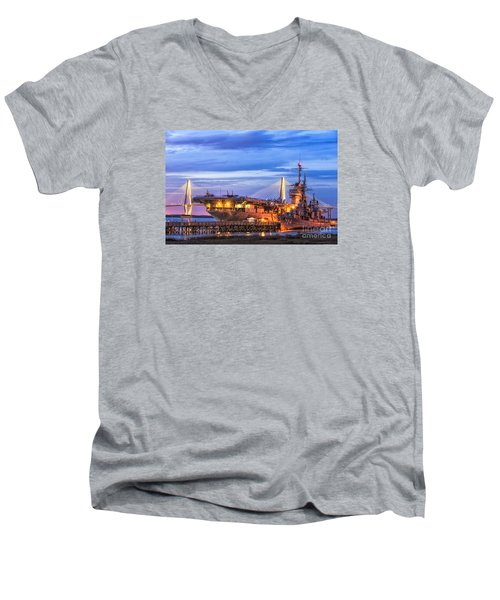 Uss Yorktown Museum Men's V-Neck T-Shirt by Jerry Fornarotto