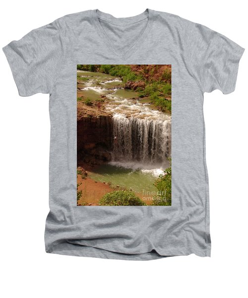 Vacation At Lower Navajo Falls Men's V-Neck T-Shirt