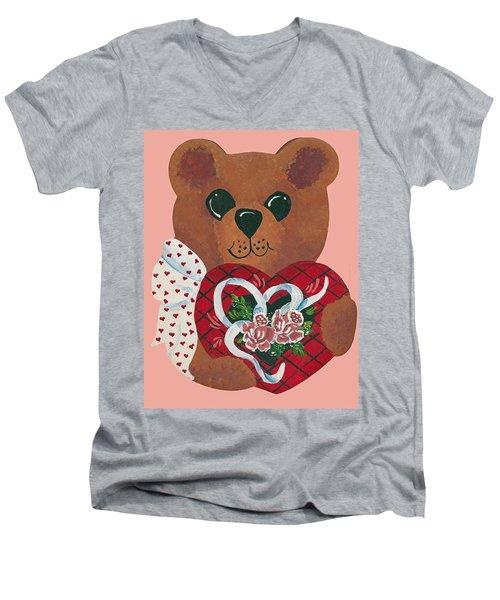Men's V-Neck T-Shirt featuring the painting Valentine Hug by Barbara McDevitt