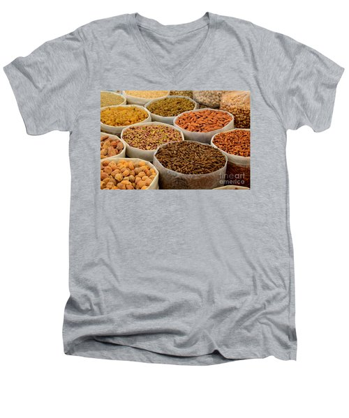 Variety Of Raw Nuts For Sale At Outdoor Street Market Karachi Pakistan Men's V-Neck T-Shirt