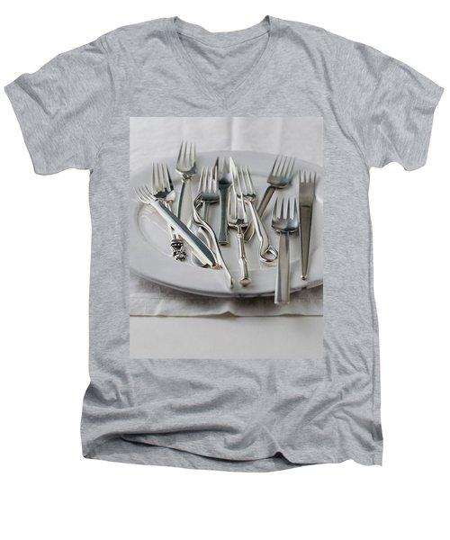 Various Forks On A Plate Men's V-Neck T-Shirt