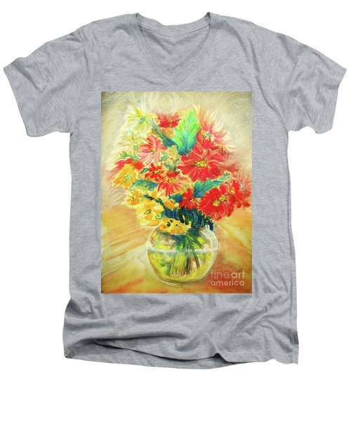 Men's V-Neck T-Shirt featuring the painting Vase by Jasna Dragun