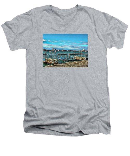 Venice Gondolas On The Grand Canal Men's V-Neck T-Shirt by Kathy Churchman