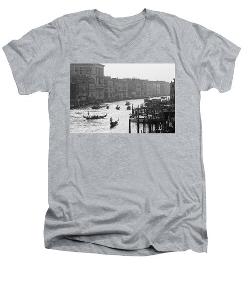 Venice Grand Canal Men's V-Neck T-Shirt by Silvia Bruno