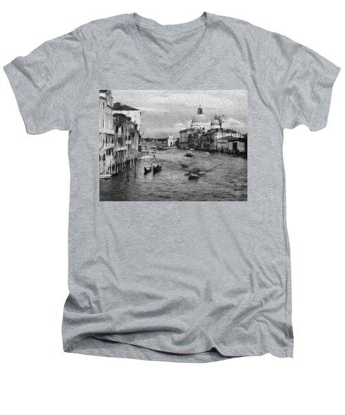 Vintage Venice Black And White Men's V-Neck T-Shirt by Georgi Dimitrov