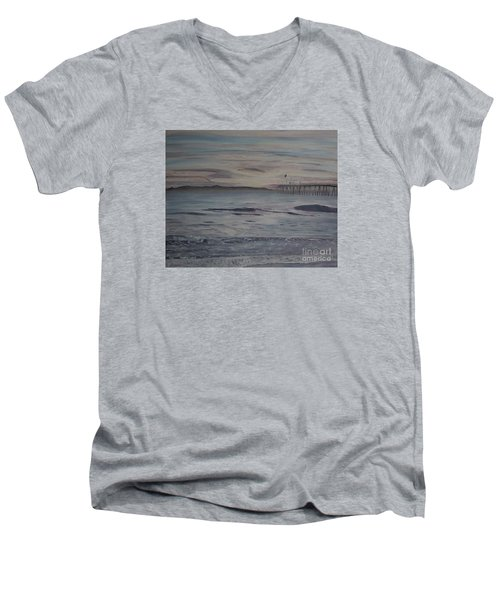 Men's V-Neck T-Shirt featuring the painting Ventura Pier High Surf by Ian Donley