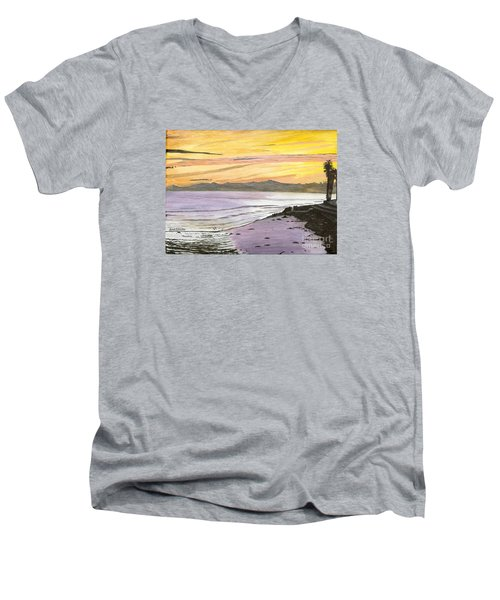 Men's V-Neck T-Shirt featuring the painting Ventura Point At Sunset by Ian Donley