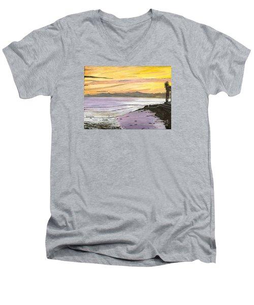 Ventura Point At Sunset Men's V-Neck T-Shirt by Ian Donley