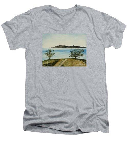 Ventura's Two Trees With Santa Cruz  Men's V-Neck T-Shirt by Ian Donley