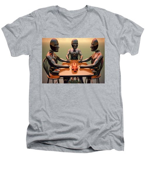 Men's V-Neck T-Shirt featuring the digital art Verdict Of The Eldar Gods by John Alexander