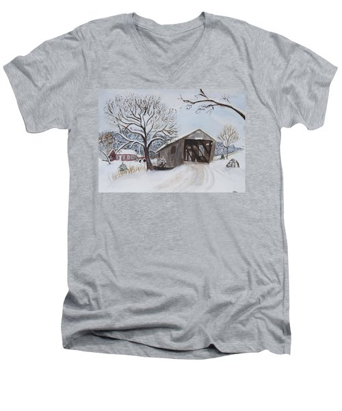 Vermont Covered Bridge In Winter Men's V-Neck T-Shirt by Donna Walsh