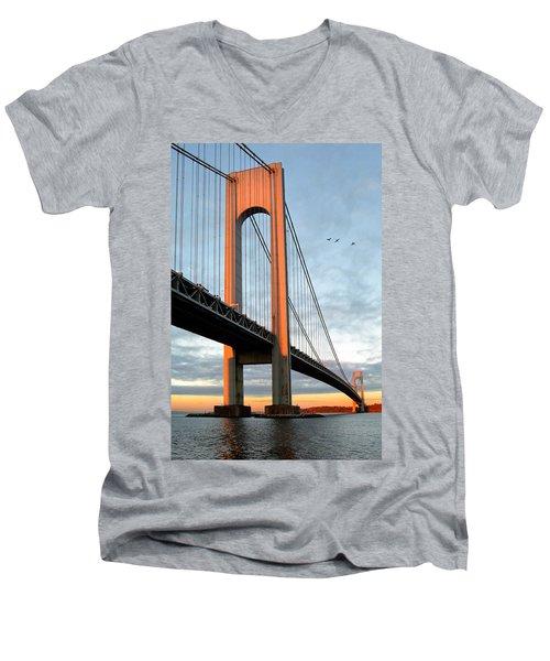 Verrazano Bridge At Sunrise - Verrazano Narrows Men's V-Neck T-Shirt by Gary Heller