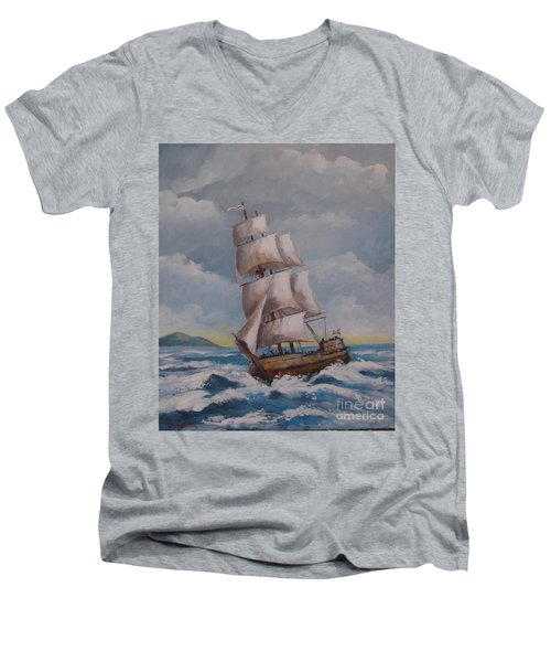 Vessel In The Sea Men's V-Neck T-Shirt