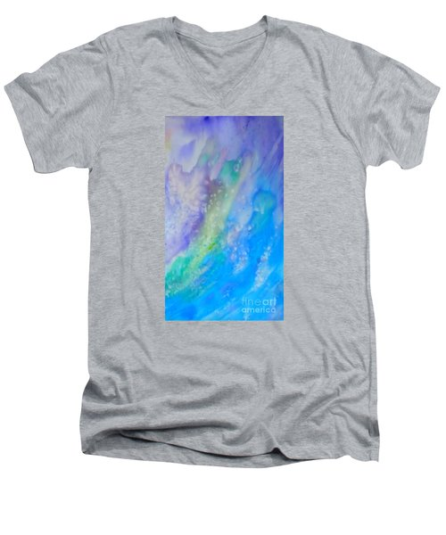 Men's V-Neck T-Shirt featuring the painting Vetical Ocean Waves by Justin Moore
