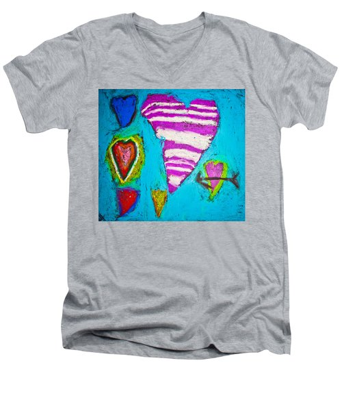 Men's V-Neck T-Shirt featuring the photograph Vibrant Love by Sara Frank