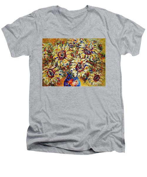 Men's V-Neck T-Shirt featuring the painting Vibrant Sunflower Essence by Natalie Holland