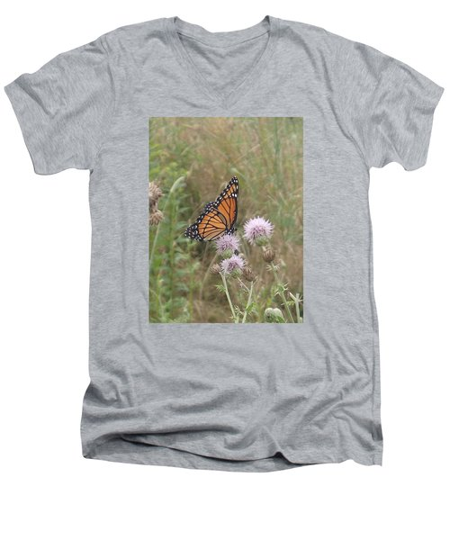 Men's V-Neck T-Shirt featuring the photograph Viceroy On Thistle by Robert Nickologianis