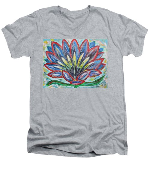 Men's V-Neck T-Shirt featuring the painting Hawaiian Blossom by Diane Pape