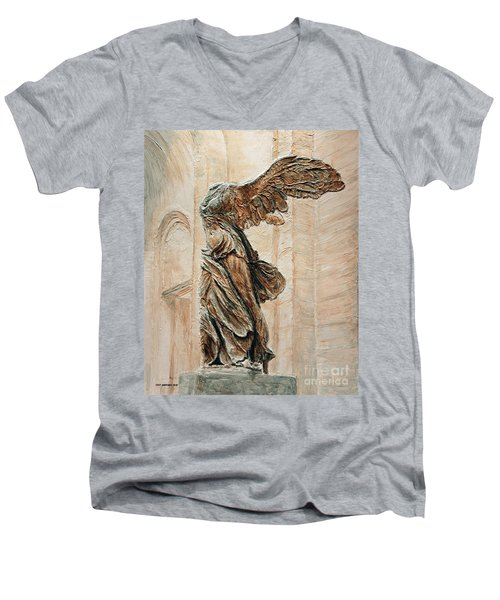 Victory Of Samothrace Men's V-Neck T-Shirt by Joey Agbayani