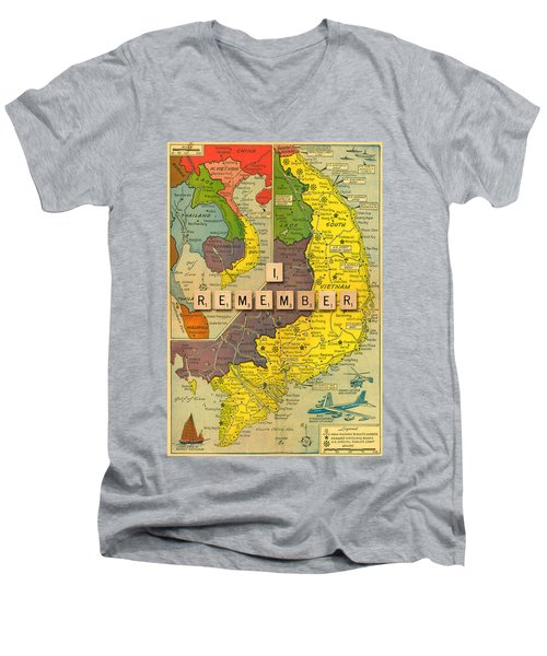 Vietnam War Map Men's V-Neck T-Shirt