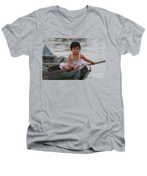 Vietnamese Girl On Lake Tonle Sap Men's V-Neck T-Shirt