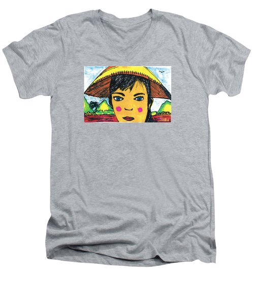 Men's V-Neck T-Shirt featuring the drawing Vietnamese Girl  With Blue Eyes by Don Koester