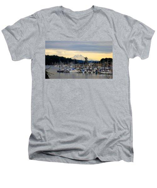 View Of Mt. Rainier From Gig Harbor Wa Men's V-Neck T-Shirt