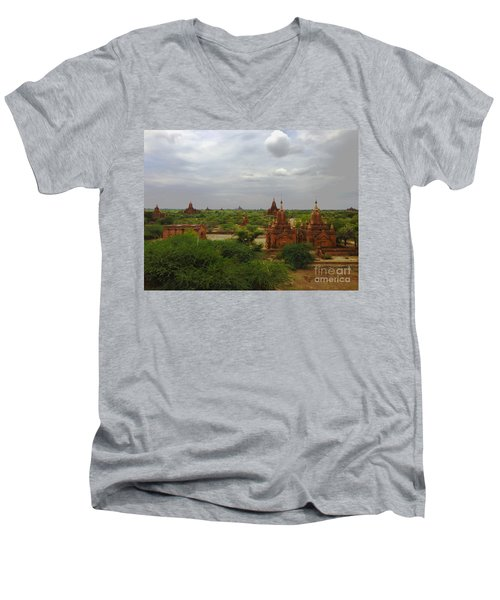 Men's V-Neck T-Shirt featuring the photograph View Of Smaller Temples Next To Dhammayazika Pagoda Built In 1196 By King Narapatisithu Bagan Burma by Ralph A  Ledergerber-Photography