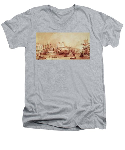 View Of The Tower Of London Men's V-Neck T-Shirt by William Parrott