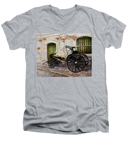 Men's V-Neck T-Shirt featuring the painting Vigan Carriage 2 by Joey Agbayani