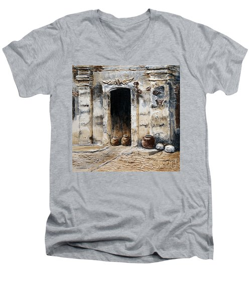 Men's V-Neck T-Shirt featuring the painting Vigan Door by Joey Agbayani