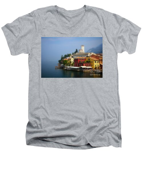 Village Near The Water With Alps In The Background  Men's V-Neck T-Shirt