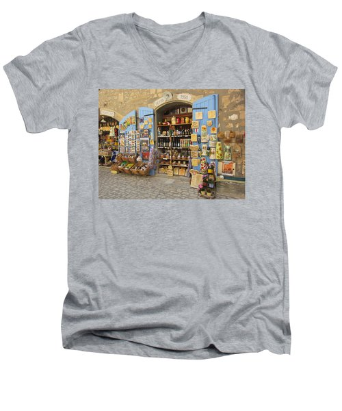 Village Shop Display Men's V-Neck T-Shirt by Pema Hou