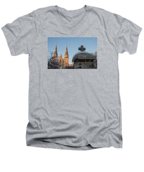 Villanova Wall And Chapel Men's V-Neck T-Shirt by Photographic Arts And Design Studio