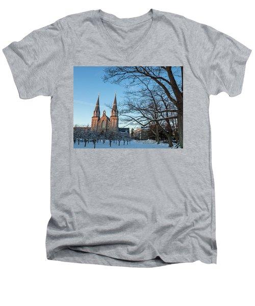 Villanova Winter Saint Thomas Men's V-Neck T-Shirt by Photographic Arts And Design Studio
