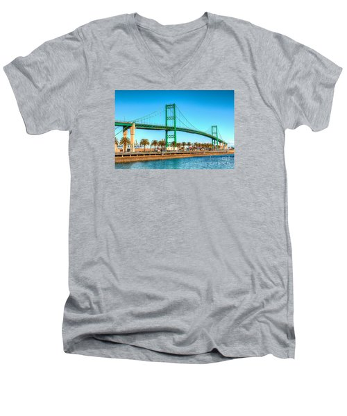 Vincent Thomas Bridge Men's V-Neck T-Shirt by Jim Carrell