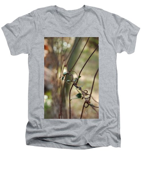 Vine On Rusted Fence Men's V-Neck T-Shirt
